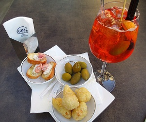 My first Aperol Spritz...and more coccolo!  Heaven or What!?