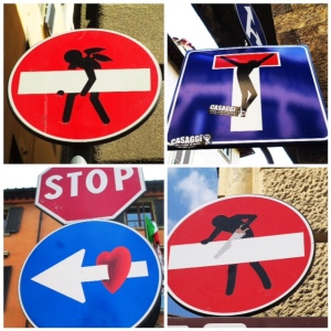 Even the street signs are canvases for clever artists!