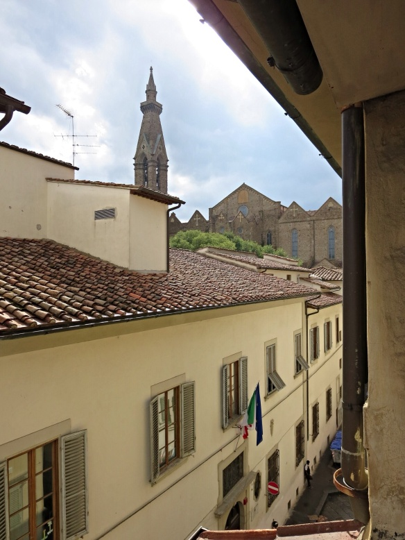 Leaning out Paola's living/office/bedroom gives a view of Santa Croce.