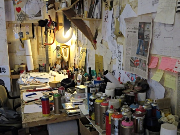 So cool to see an artist's workspace!